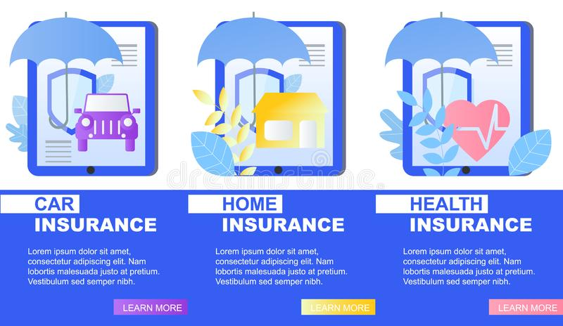 House Car Health Insurance Service Banner Vector. House Car Health Insurance Service Banner Umbrella and Shield Vector Illustration. Damage Financial Cover vector illustration