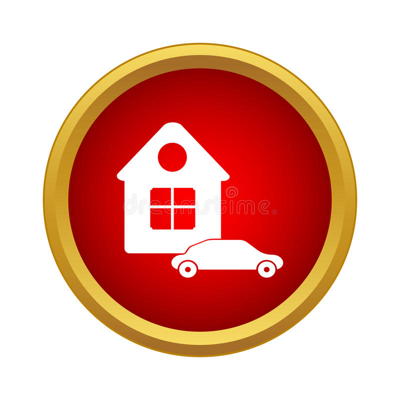 House And Car Icon Simple Style Stock Vector Illustration Of