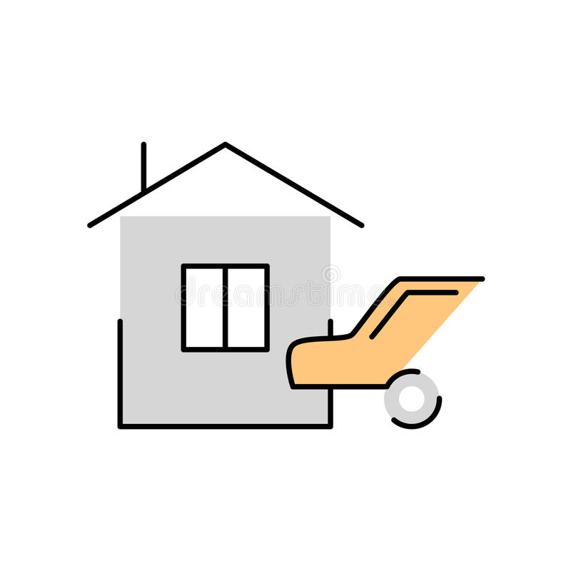 House and car linear flat icon Insurance mortgage valuables,. House and car linear flat icon Insurance, mortgage, valuables, property royalty free illustration
