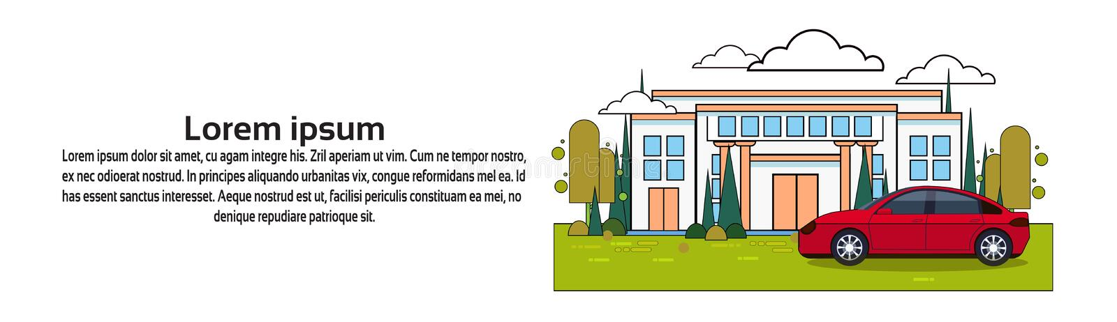 House With Car Over Background With Copy Space Property Insurance And Investment Concept. Vector Illustration vector illustration