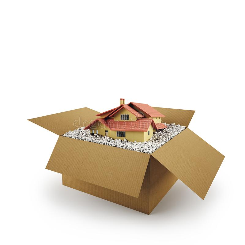House in a cardboard box. Concept of buying a dwelling. 3D Rendering. House in a cardboard box on white background. 3D Rendering vector illustration