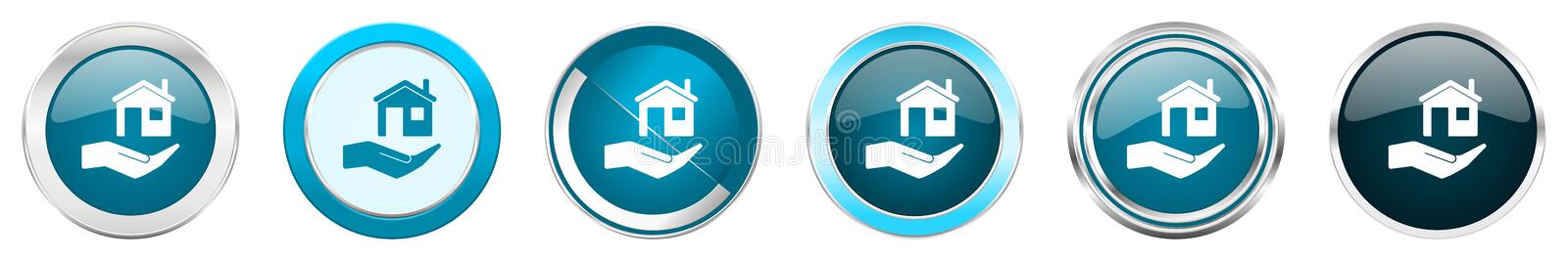 House care silver metallic chrome border icons in 6 options, set of web blue round buttons isolated on white background vector illustration