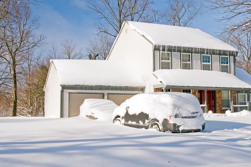 Download House And Cars After Snowstorm Stock Photos - Image: 12921223