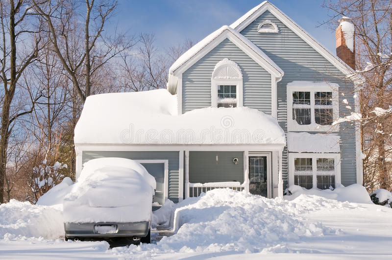 Download House And Cars After Snowstorm Stock Image - Image: 12924563