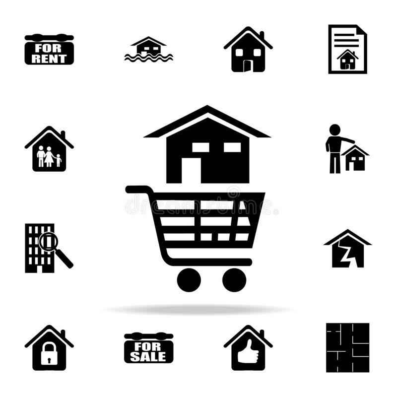 a house in a cart from the store icon. Real estate icons universal set for web and mobile stock illustration