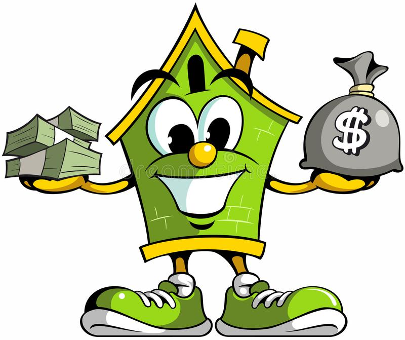House cartoon mascot logo holding cash, house cartoon character with the cash money. House cartoon mascot logo holding cash, house cartoon character with the stock illustration