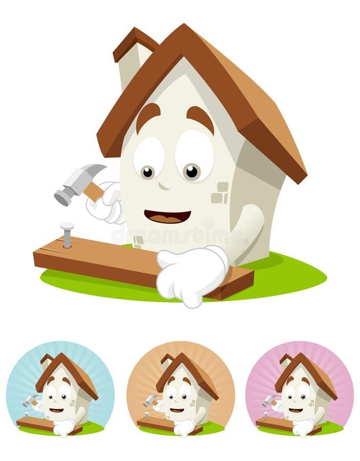 Download House Cartoon Mascot - Nailing Stock Illustration - Illustration of metal, graphic: 21089709