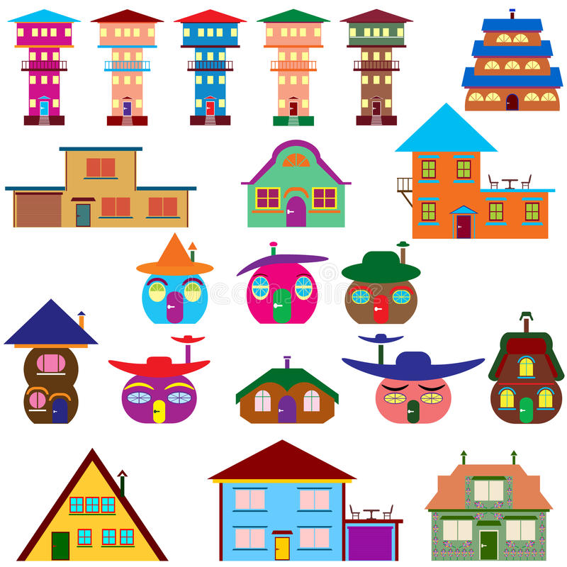 House cartoon set - colourful home icon collection. royalty free illustration