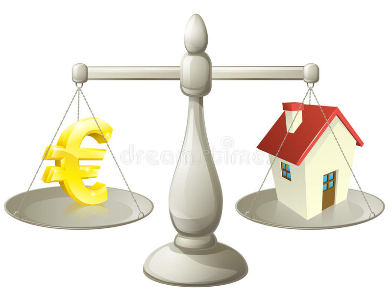 House cash euro scales concept. House money Euro scales concept. Euro sign on one side of a scale and a house on the other. Can have several meanings relating to stock illustration