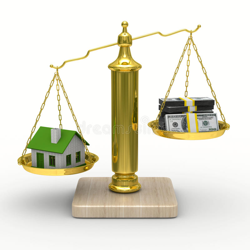Download House And Cashes On Scales. Isolated 3D Stock Illustration - Image: 19031414