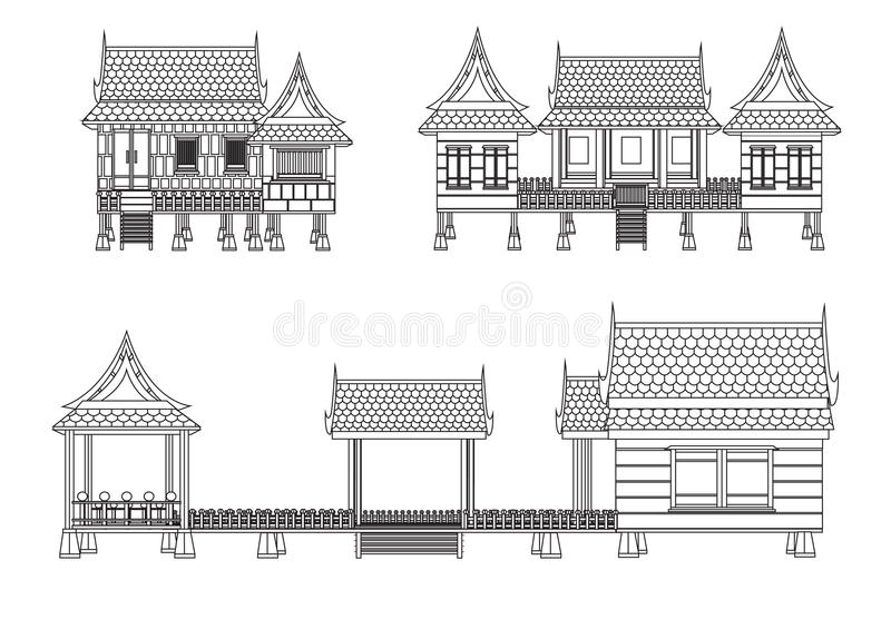 Elevation Woodwork : House of central thailand stock vector illustration