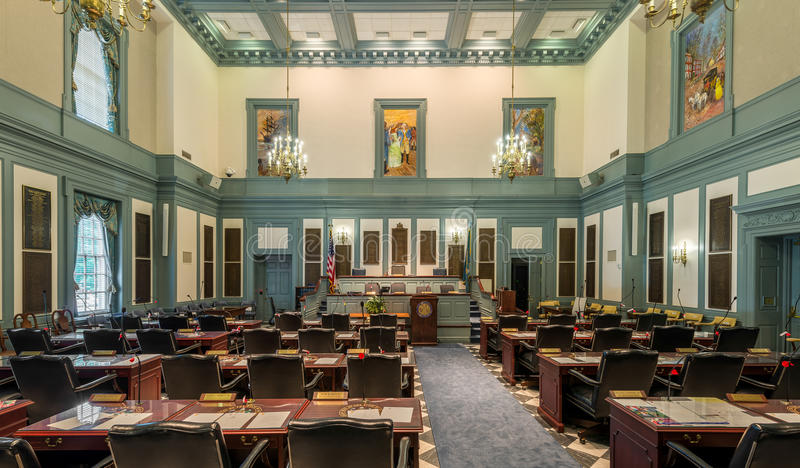 House chamber in Dover. House of Representatives chamber in Legislative Hall in Dover, Delaware on July 20, 2015 stock photos