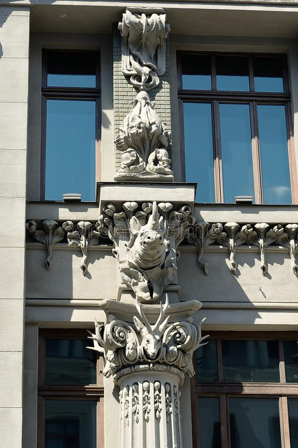 The house with chimeras in Kiev. House with Chimeras - brick building in the Art Nouveau style, located in the capital of Ukraine, Kiev. The name of the house stock photography