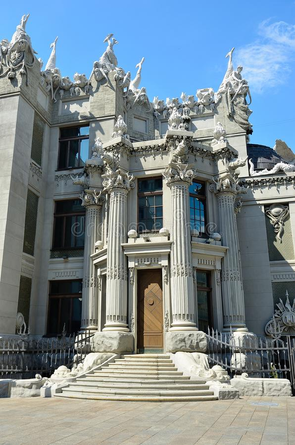 The house with chimeras in Kiev. House with Chimeras - brick building in the Art Nouveau style, located in the capital of Ukraine, Kiev. The name of the house royalty free stock image