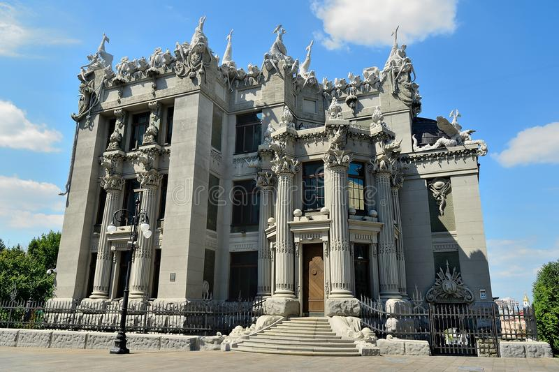The house with chimeras in Kiev. House with Chimeras - brick building in the Art Nouveau style, located in the capital of Ukraine, Kiev. The name of the house stock photo