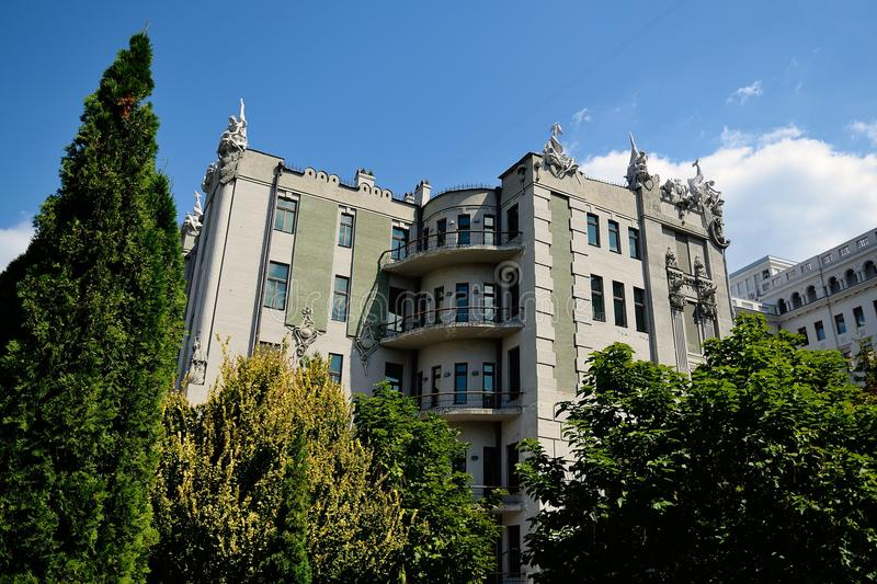 The house with chimeras in Kiev. House with Chimeras - brick building in the Art Nouveau style, located in the capital of Ukraine, Kiev. The name of the house royalty free stock photos