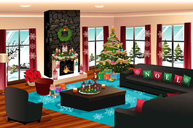 House with Christmas Decoration stock illustration