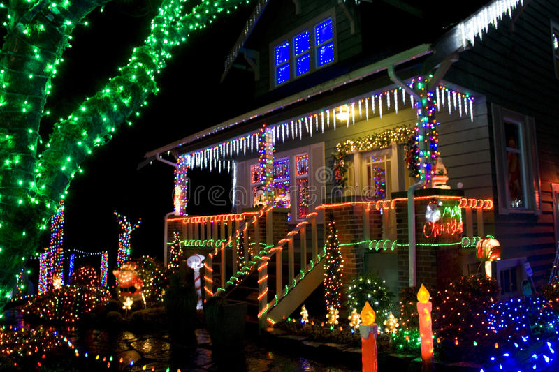 House with Christmas lights royalty free stock photos