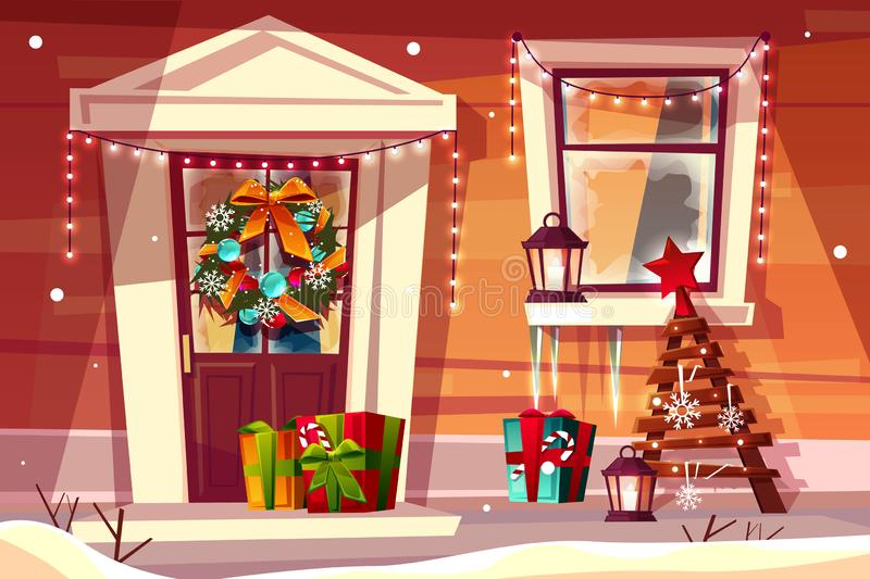 House With Christmas Lights Clipart.Modern House Entrance Night Lights Stock Illustrations 10