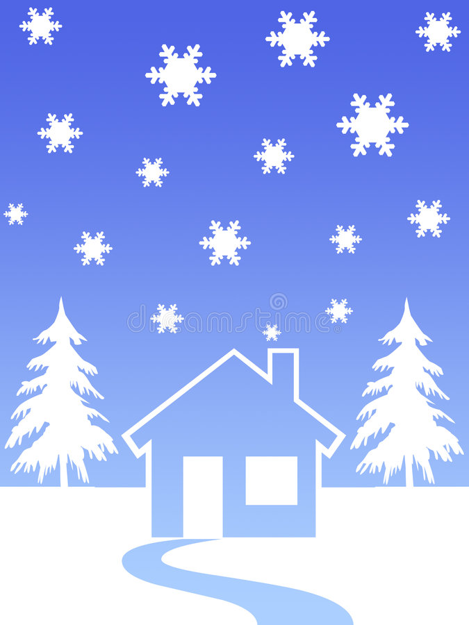 House and christmas trees vector illustration