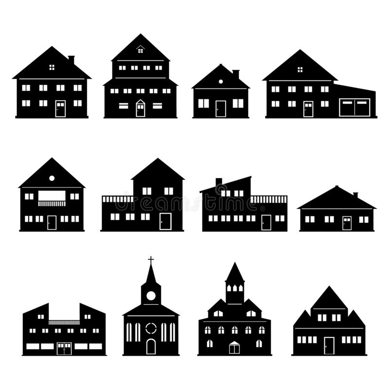 House Church Home Icons Set 库存例证