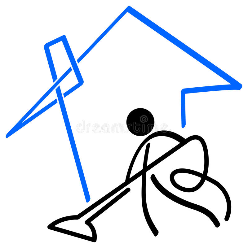 House cleaner. Isolated line art cartoon image