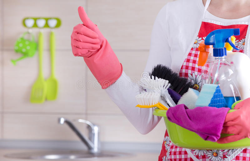 House cleaner showing ok sign stock photo image 66450089 for Kitchen located in front of house