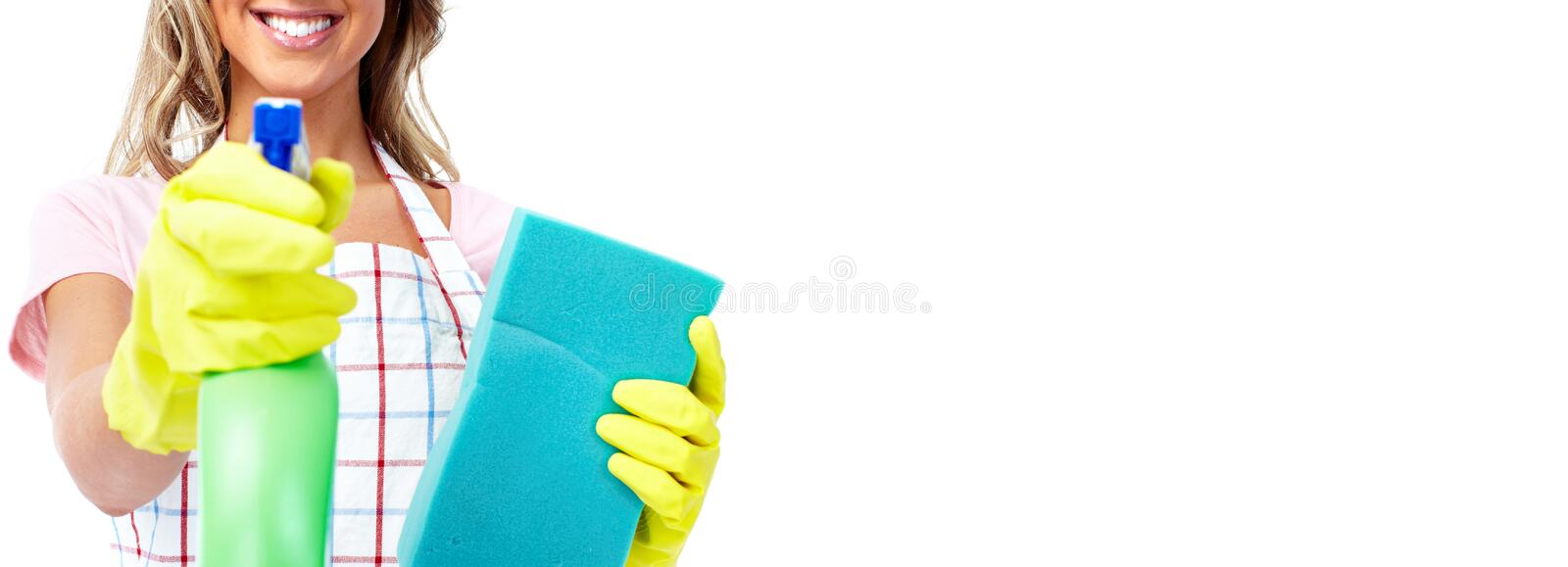 House cleaning. Cleaner woman hands with tools over abstract banner background stock image