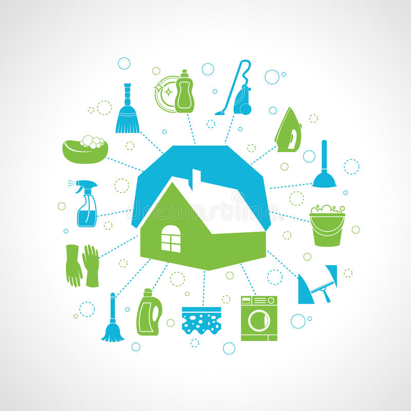 House cleaning concept. Cleaning washing concept with house and housework icons set vector illustration royalty free illustration