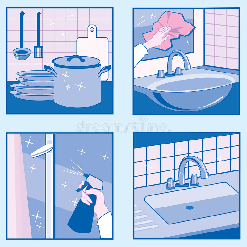 House Cleaning icons stock images