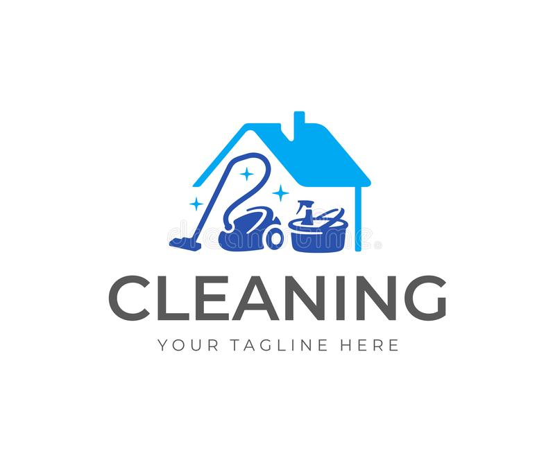 House cleaning service logo design. House with vacuum cleaner, bucket and cleaning products vector design stock illustration