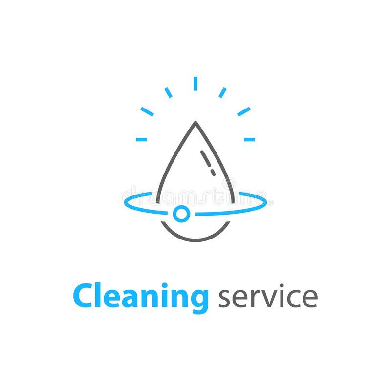 Home cleaning services, plumbing repair logo, house hygiene, vector linear icon stock illustration