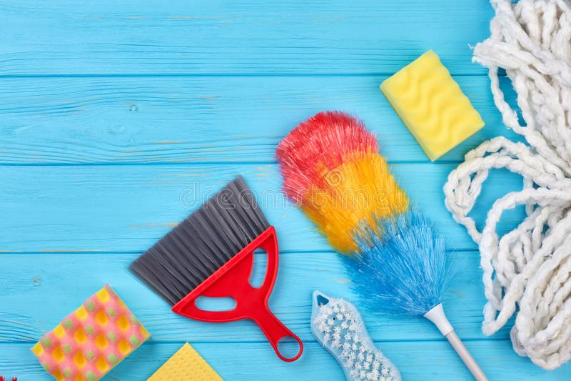 House cleaning supplies, copy space. stock image