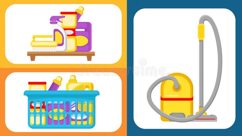 House Cleaning Supplies Vector Illustrations Set stock illustration