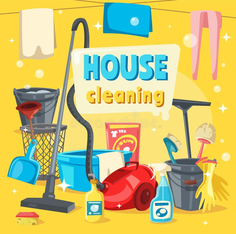 Free House Cleaning Tools And Supplies Royalty Free Stock Image - 127087616