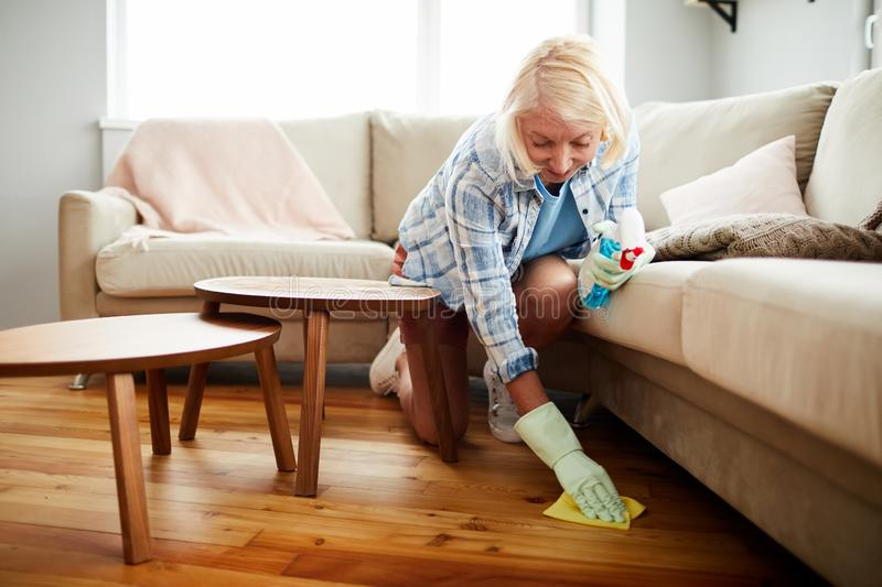 House cleaning worker wiping floor with napkin stock image