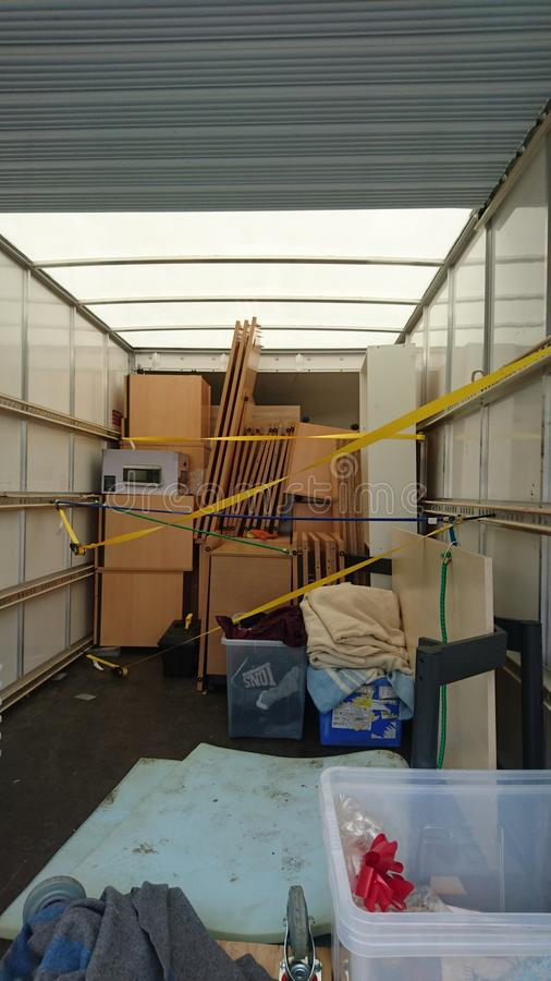 House clearance removal van packed full royalty free stock image