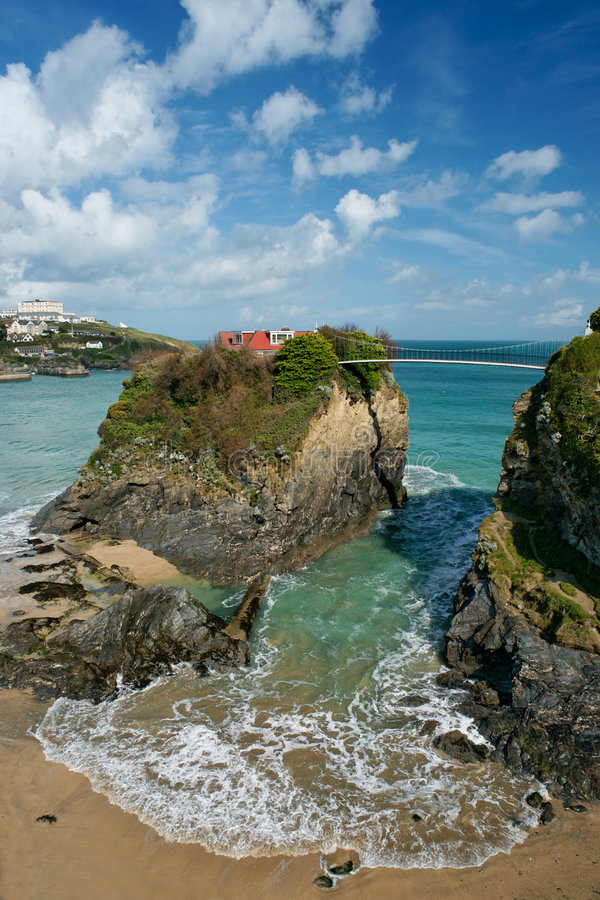 House on the cliff, Cornwall stock photo