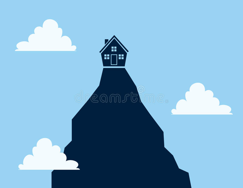 Download House on Cliff stock vector. Illustration of single, lonely - 31593488