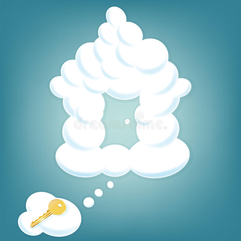 House from clouds in sky. House from clouds in sky with gold key lying on a cloud. Real estate background vector illustration