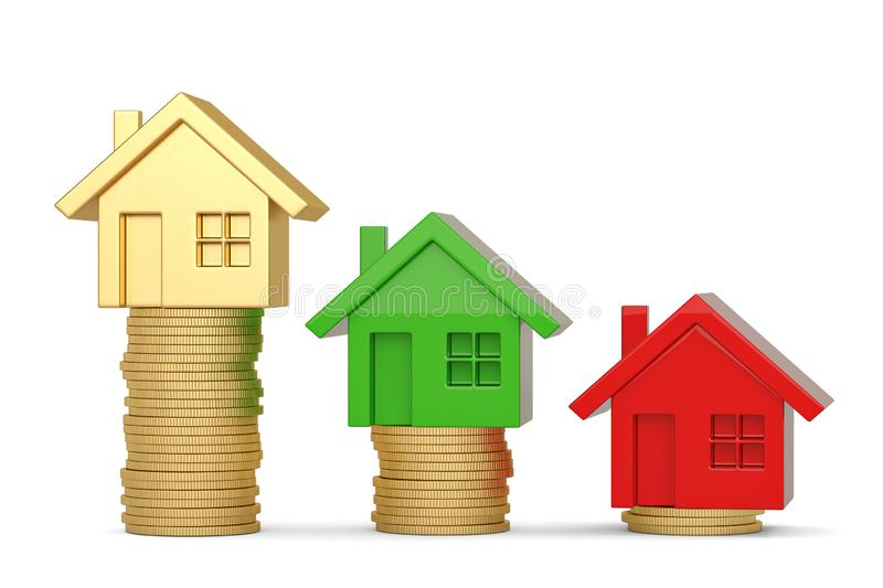House and coin stack isolated on white background. 3D illustration.  royalty free illustration