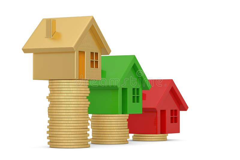 House and coin stack isolated on white background. 3D illustration.  vector illustration