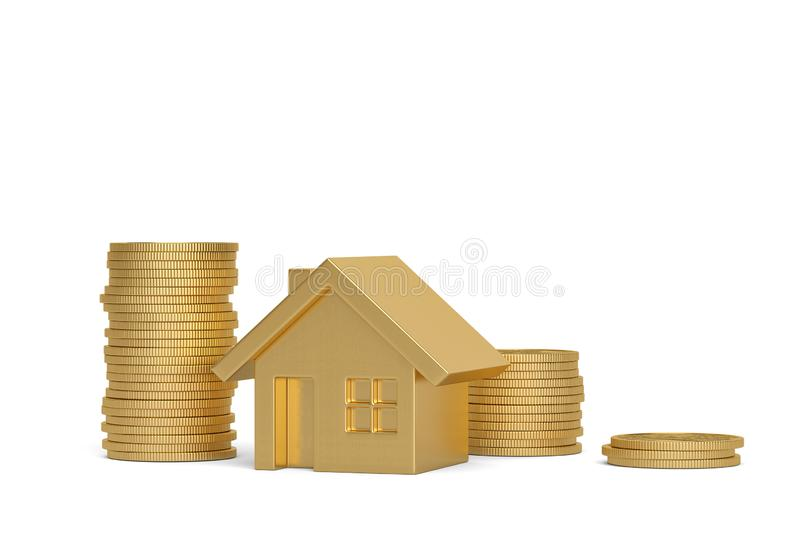 House and coin stack isolated on white background. 3D illustration.  stock illustration