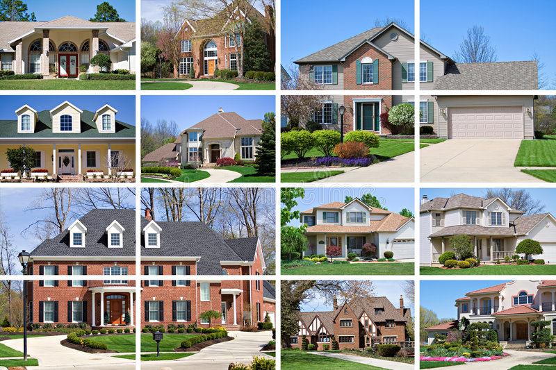 House collage. A collage of 10 beautiful homes of various styles and price range stock photo