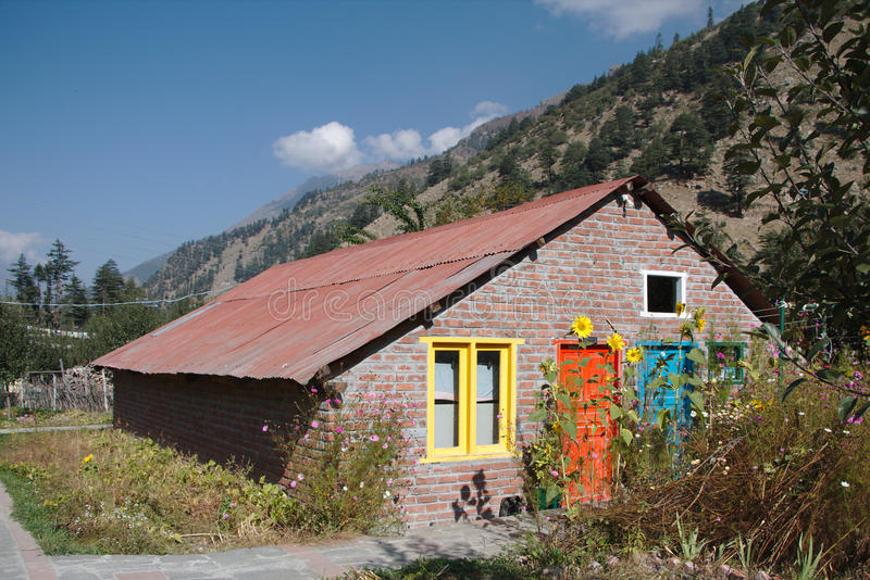 House with colorful doors and windows royalty free stock image