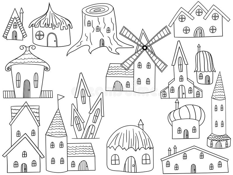 House Coloring Book Vector Illustration Stock Vector - Illustration on house sketch, house drawing, house letters book, house coloring worksheet, house coloring paper,