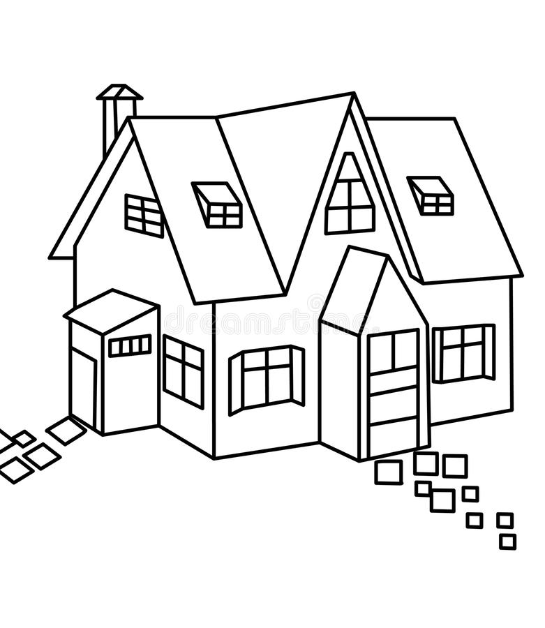 House coloring page. Hand drawn house/home coloring page for kids stock illustration