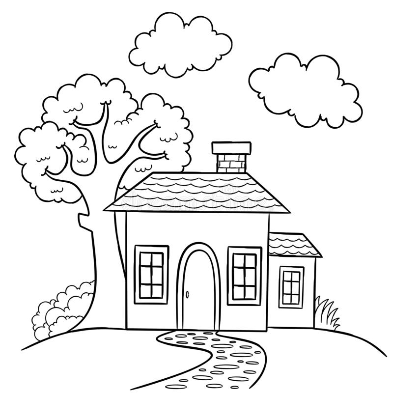 - House Coloring Page, Useful As Coloring Book For Kids, Stock Vector -  Illustration Of Isolated, Cartoon: 186793060