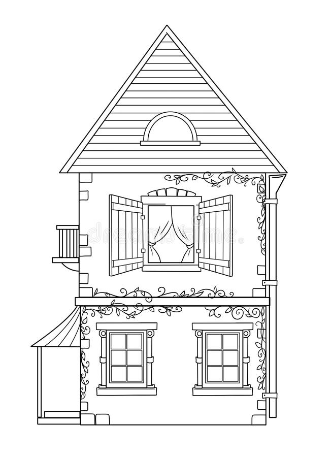 Download House coloring pages stock illustration. Illustration of image - 32180539
