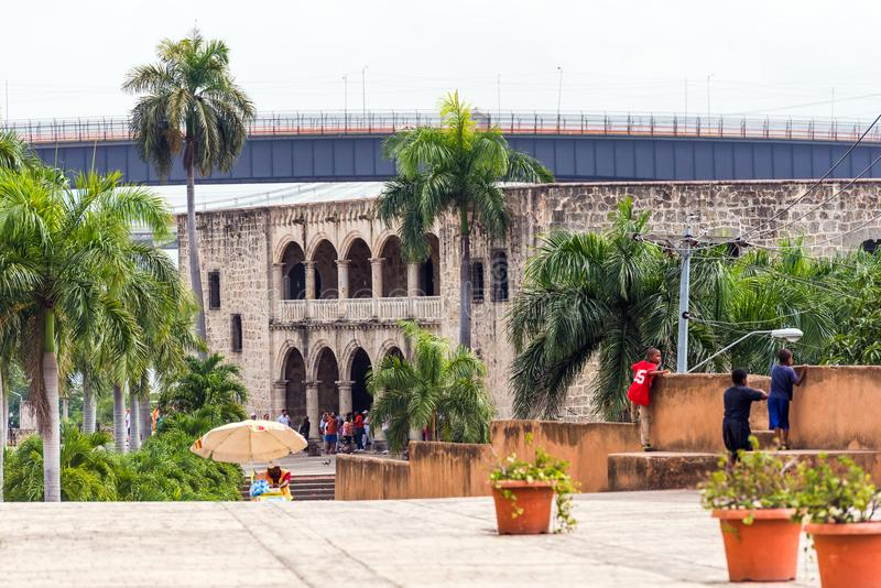 The house of Columbus, the first stone building built in Santo Domingo, Dominican Republic. Copy space for text. royalty free stock images